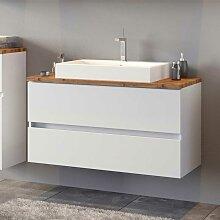 Waschtischunterschrank in Weiß und Wildeiche