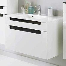 Waschtischunterschrank inklusive Waschbecken Weiß-Anthrazit