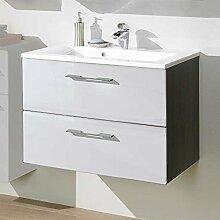 Waschtischunterschrank mit Becken Hochglanz Weiß Pharao24