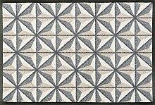wash + dry 087823 Kubus Fußmatte, Acryl, beige, 50 x 75 x 0.7 cm