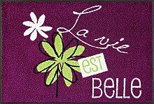 wash + dry 088226 La Vie Est Belle Fußmatte, Acryl, Violett, 50 x 75 x 0.7 cm