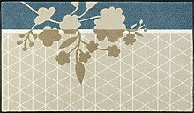 wash + dry 088509 Prisma Flower Fußmatte, Acryl, Beige, 75 x 120 x 0.7 cm
