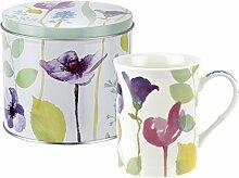 Wasser Garden Becher und Zinn Set, Porzellan, mehrfarbig, 13x 13x 11,5cm