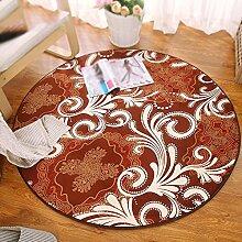 Wasserabsorbierende rutschfeste runde Teppich / kein Fussel verblasst nicht die Dicke von 1,5 cm Mode Druck Teppich / Computer Stuhl drehen Stuhl Decke / Runde Bank hängen Bett Bett Bett rutschfeste gewaschen Teppich ( größe : Diameter 120cm , stil : A )