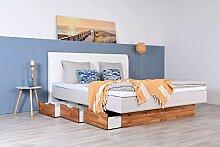 Wasserbett mit Schubkästen + Topper + Wandpaneel