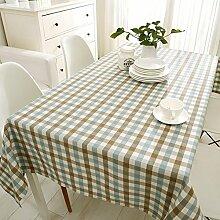 Wasserdicht Streifen Quadratische Tischdecke/Clean Cotton, Leinen Tischdecke/Stoff-tischdecke-D 140x240cm(55x94inch)
