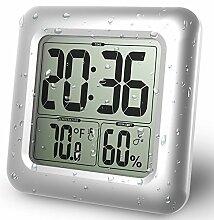 Wasserdichte Baduhr LCD Digital Wandspiegel Saugnapf Küche Temperatur Feuchtigkeit Sensor Zeit Uhr Dusche Uhr