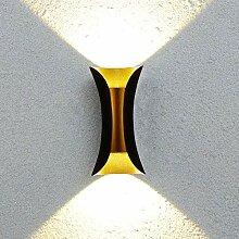 Wasserdichte LED Außen-Wandlampe Schwarz Gold