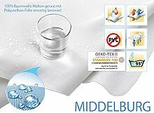 Wasserdichte Molton Matratzenschoner 100% Baumwolle geraut– kochfest - mit einseitiger PU-Laminierung - ca. 200 g/m²