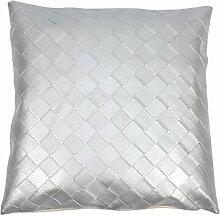 Wasserdichte PU-40,6cm Grid Kissen Überwurf Kissen Sofa Living Home Dekoration, Silber, 45 x 45 cm