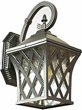 Wasserdichte Sonnenschutz-Außenwand-Lampe, Retro-Industrie-Glas-Aluminium-Schirm-Abdeckung Garten-Wand-Licht LED-Beleuchtung E27 Birne - Villa-Balkon
