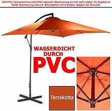 WASSERDICHTER Ampelschirm 2,5m PVC eckig Sonnenschirm Wasserfest Schirm 250 cm (Terrakotta)