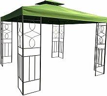 WASSERDICHTER Pavillon Romantika 3x3m Metall inkl. Dach Festzelt wasserfest Partyzelt (Waldgrün)