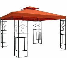 WASSERDICHTER Pavillon Romantika 3x3m Metall inkl. Dach Festzelt wasserfest Partyzelt (Terrakotta)