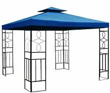 WASSERDICHTER Pavillon Romantika 3x3m Metall inkl. Dach Festzelt wasserfest Partyzelt (Marineblau)