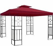 WASSERDICHTER Pavillon Romantika 3x3m Metall inkl. Dach Festzelt wasserfest Partyzelt (Bordeaux)