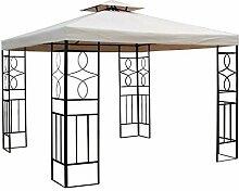 WASSERDICHTER Pavillon Romantika 3x3m Metall inkl. Dach Festzelt wasserfest Partyzelt (Beige)