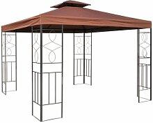 WASSERDICHTER Pavillon Romantika 3x3m Metall inkl. Dach Festzelt wasserfest Partyzelt (Braun)