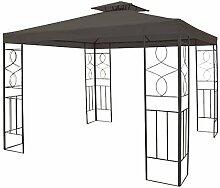 WASSERDICHTER Pavillon Romantika 3x3m Metall inkl. Dach Festzelt wasserfest Partyzelt (Anthrazit)