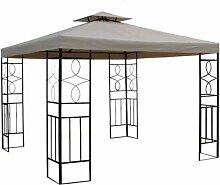 WASSERDICHTER Pavillon Romantika 3x3m Metall inkl. Dach Festzelt wasserfest Partyzelt (Taupe)