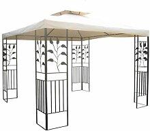WASSERDICHTER Pavillon TOSKANA 3x3m Metall inkl. Dach Festzelt wasserfest Partyzelt (Beige)