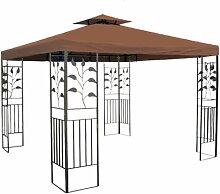 WASSERDICHTER Pavillon TOSKANA 3x3m Metall inkl. Dach Festzelt wasserfest Partyzelt (Braun)
