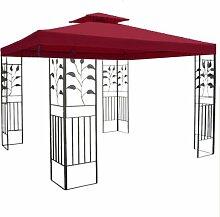 WASSERDICHTER Pavillon TOSKANA 3x3m Metall inkl. Dach Festzelt wasserfest Partyzelt (Bordeaux)