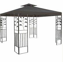 WASSERDICHTER Pavillon TOSKANA 3x3m Metall inkl. Dach Festzelt wasserfest Partyzelt (Anthrazit)