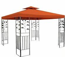 WASSERDICHTER Pavillon TOSKANA 3x3m Metall inkl. Dach Festzelt wasserfest Partyzelt (Terrakotta)