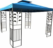 WASSERDICHTER Pavillon TOSKANA 3x3m Metall inkl. Dach Festzelt wasserfest Partyzelt (Marineblau)