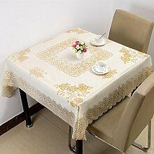 Wasserdichter Stoff Tabelle Taiwan Garten Tischdecke verfügbares Öl Tischdecke Tuch mahjong Tabelle, Golden-A, 133 * 133 cm
