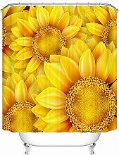 Wasserdichter Vorhang, Verdickung, Anti Mehltau, Vorhang, Bad, Vorhang, Polyester Vorhang, mit Haken ( Farbe : Gelb , größe : 120*200cm )