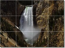 Wasserfälle Foto Keramik Fliese Wandbild 30. 45,7x 61cm mit (12) 6x 6Keramik Fliesen.