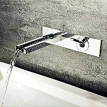 Wasserfall Chrom Wandmontage Einhand-Doppelloch