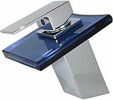 Wasserfall Einhebel Waschbecken Waschtischarmatur Glas Armatur Wasserhahn Einhebelmischer Chrom Blau Sanlingo