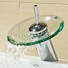 Wasserfall Monobloc Sicherheit Glas Waschbecken