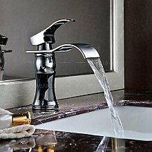 Wasserfall verbreitet Waschbecken Wasserhahn poliert Chrom Einhand Einlochmontage Wasserhahn montieren deck