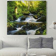 Wasserfall Wald Dschungel Wandteppich Natur