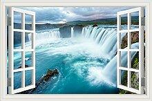 """Wasserfall Wald Natur Landschaft 3D Wandtattoo Home Decor Wandsticker Vinyl Tapete, W0813, 28""""""""X40"""