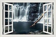 """Wasserfall Wald Natur Landschaft 3D Wandtattoo Home Decor Wandsticker Vinyl Tapete, W0824, 32""""""""X48"""