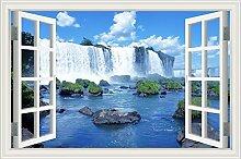 """Wasserfall Wald Natur Landschaft 3D Wandtattoo Home Decor Wandsticker Vinyl Tapete, W0827, 24""""""""X36"""