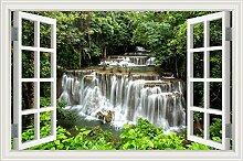 """Wasserfall Wald Natur Landschaft 3D Wandtattoo Home Decor Wandsticker Vinyl Tapete, W0817, 32""""""""X48"""