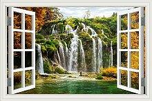 """Wasserfall Wald Natur Landschaft 3D Wandtattoo Home Decor Wandsticker Vinyl Tapete, W0816, 32""""""""X48"""