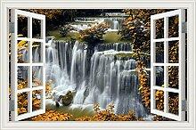 """Wasserfall Wald Natur Landschaft 3D Wandtattoo Home Decor Wandsticker Vinyl Tapete, W0825, 32""""""""X48"""