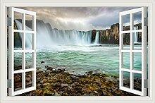 """Wasserfall Wald Natur Landschaft 3D Wandtattoo Home Decor Wandsticker Vinyl Tapete, W0823, 32""""""""X48"""