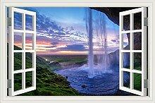 """Wasserfall Wald Natur Landschaft 3D Wandtattoo Home Decor Wandsticker Vinyl Tapete, W0818, 32""""""""X48"""