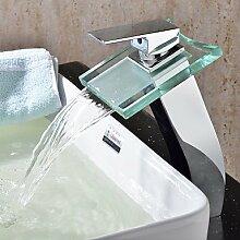 Wasserfall Waschbecken Armatur mit Glas Wasserhahn