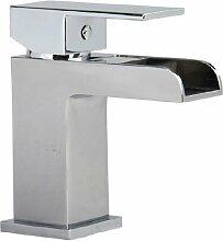 Wasserfall Waschtisch Armatur Waschbecken Eckig Einhebelmischer Chrom (Desire 1)