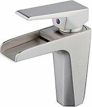 Wasserfall Wasserhähne massivem Messing Mischbatterie Waschbecken Wasserhahn Designer-Stil, Nickel gebürstet, xy1002N, Xinyu