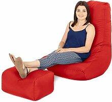 Wasserfest Außenbereich Gaming Sitzsack Lounger Sessel und Fußhocker, Erhältlich in 10 Farben - Ro